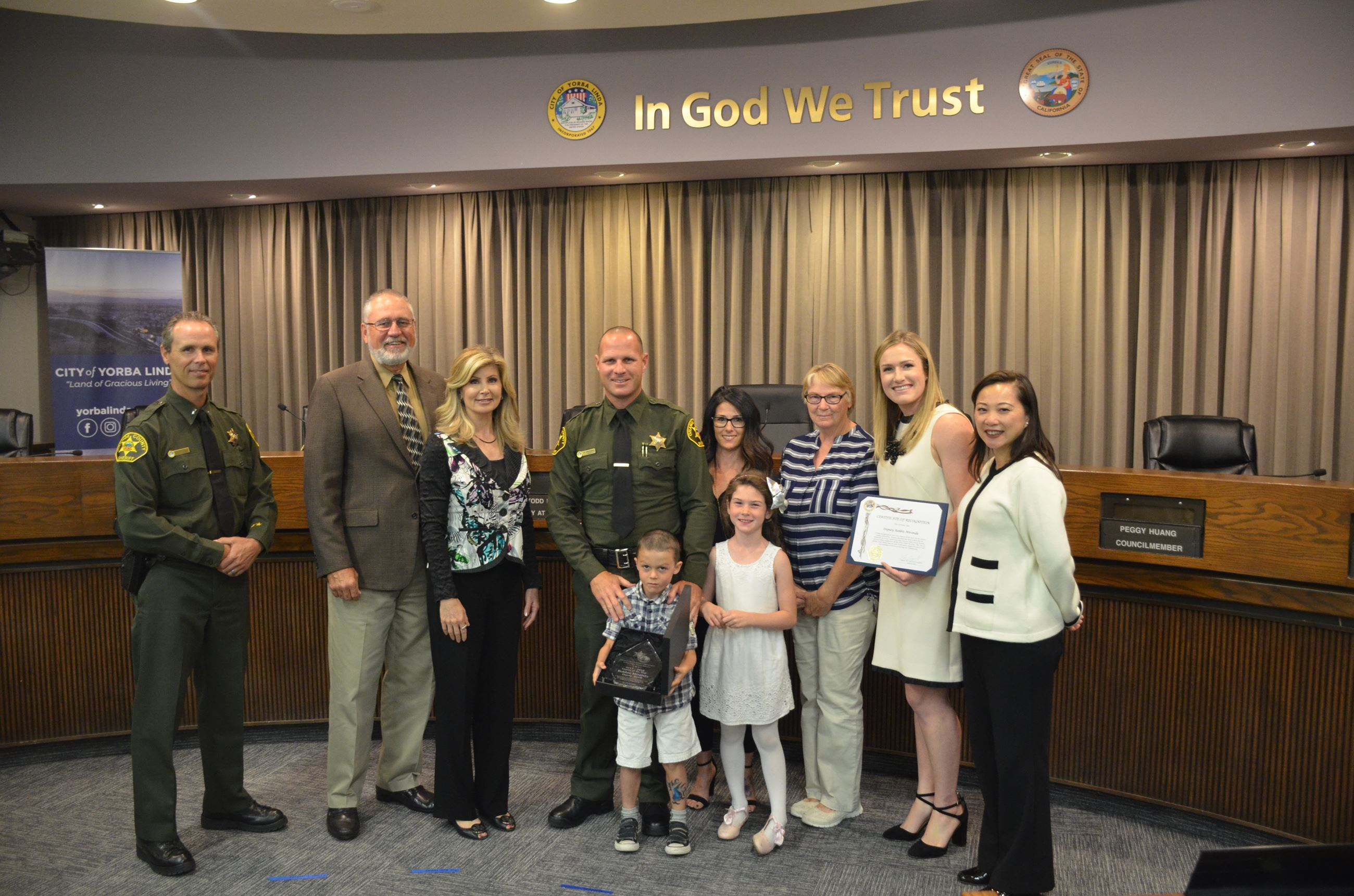 Deputy Miranda and Family - group photo with Council