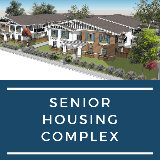 rendering of houses with &#34Senior Housing Complex&#34