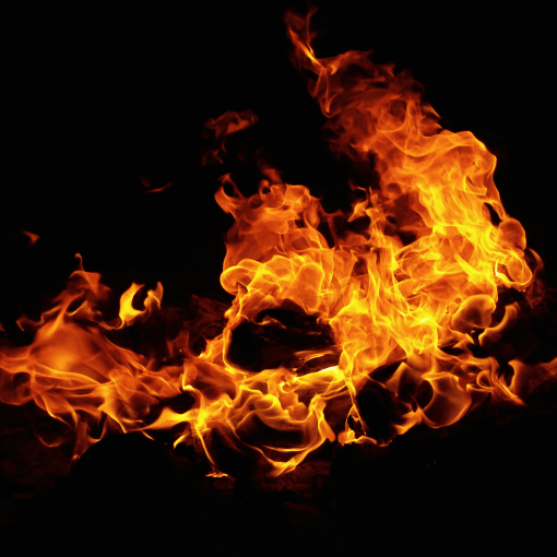 Dark background with flames