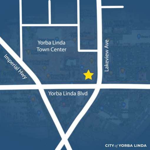 A map of City streets with a star on the corner of Yorba Linda Boulevard and Lakeview Avenue